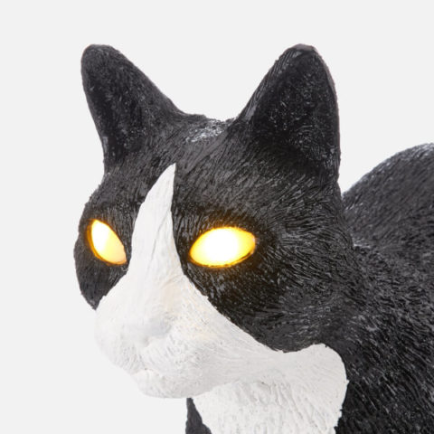 seletti cat lamp black & white