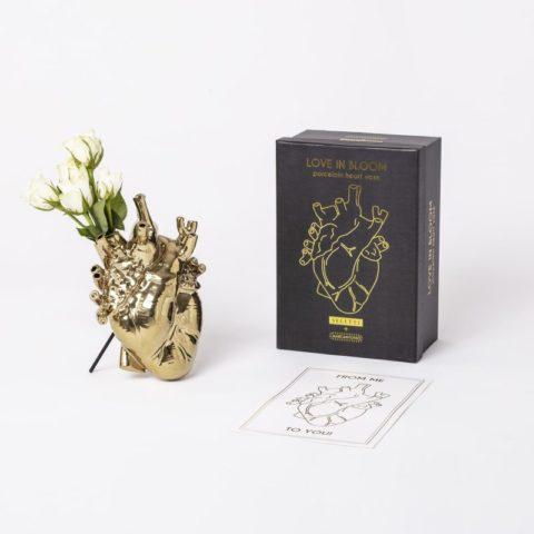 seletti vaso cuore oro